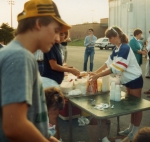 Phil Gray and Anne Renee Rice setting up ice cream social in October 1986.